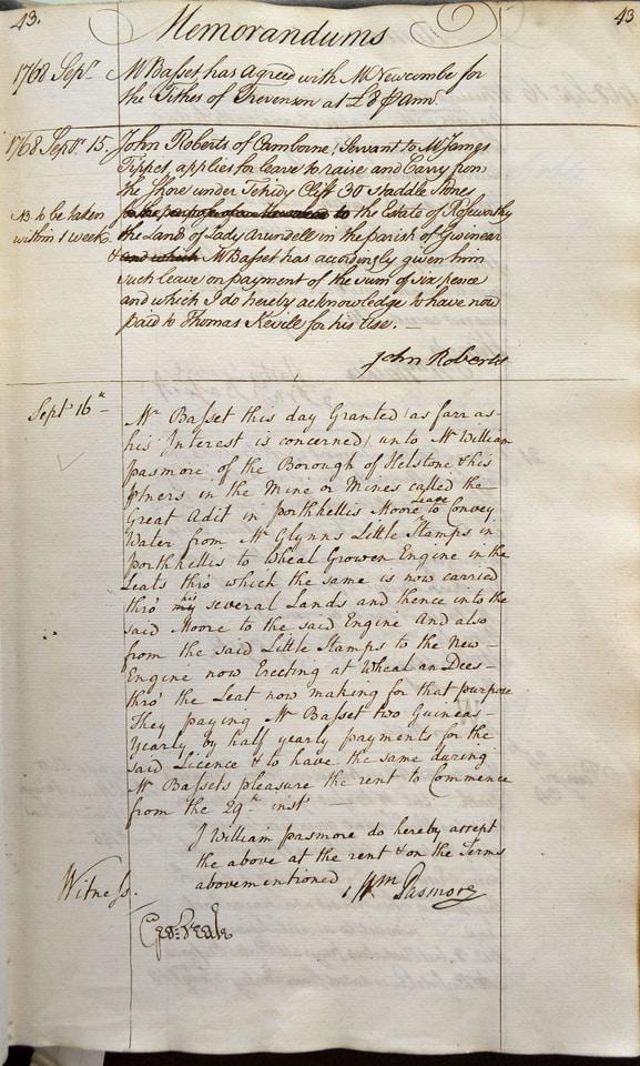 Memorandum Book showing tin mining affairs for the Tehidy Estate, Camborne, Cornwall, 1768.