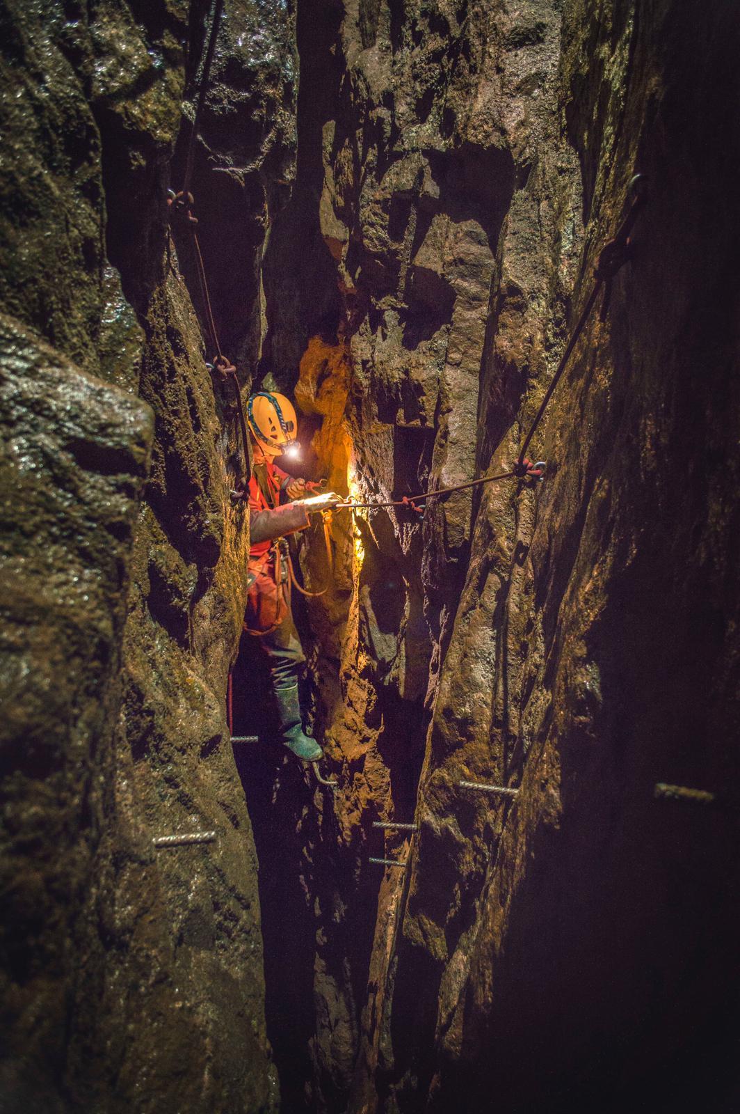 Mine explorer having fun in a tin mine in Truro, Cornwall