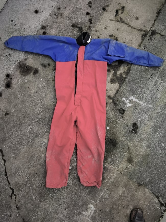Warmbac centre caving suit as used by Cornwall Underground Adventures