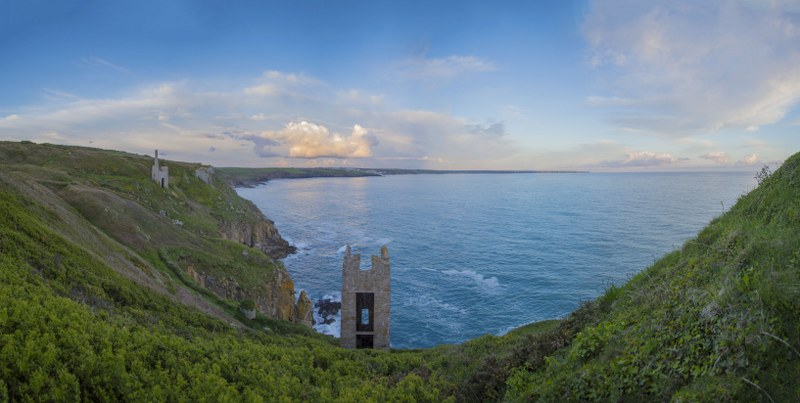 Mine history tours. Cornish Engine houses near Porthleven, Cornwall