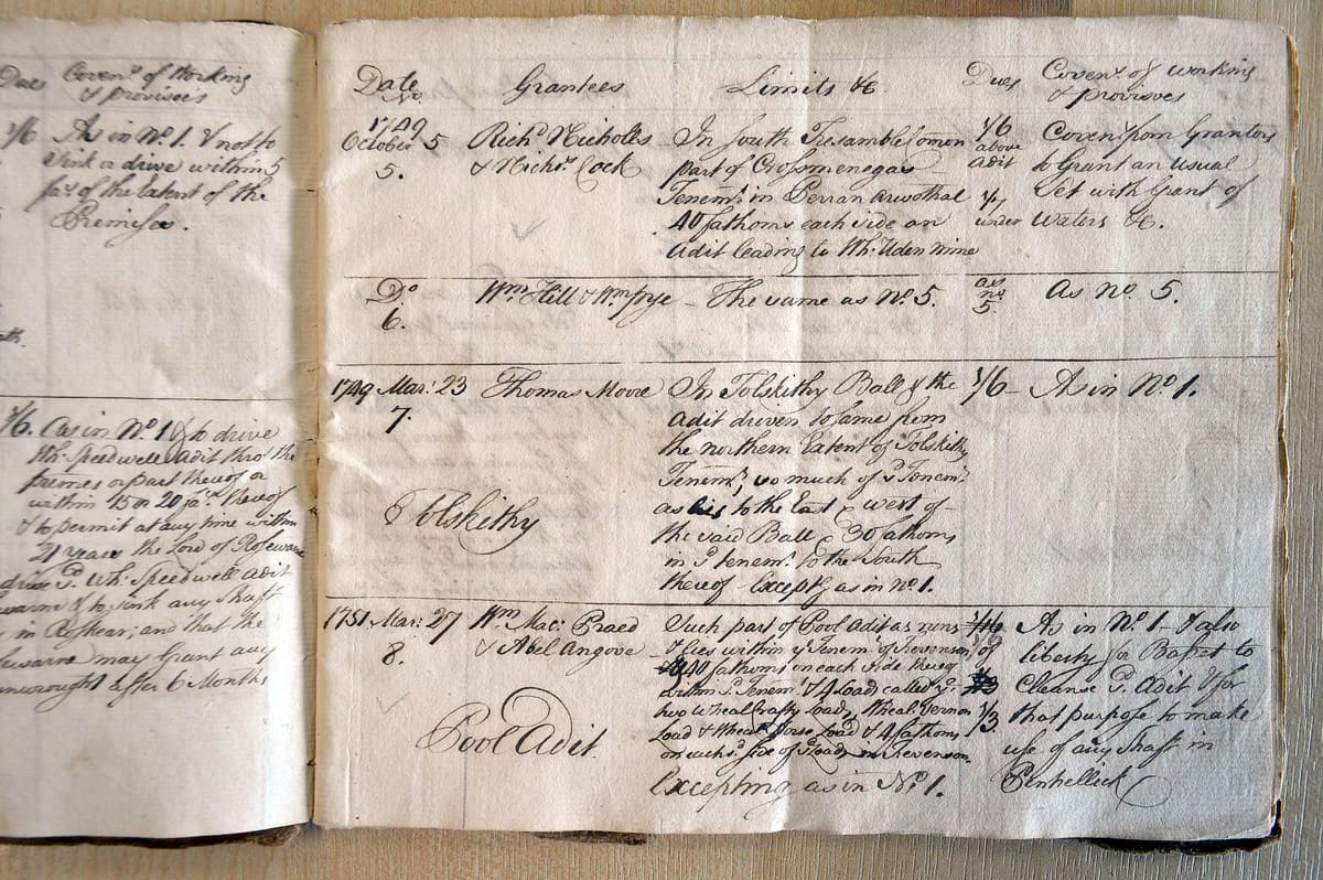 Sett Book from Nancekuke in Cornwall, c.1748. Part of a mine research project by Cornwall Underground Adentures