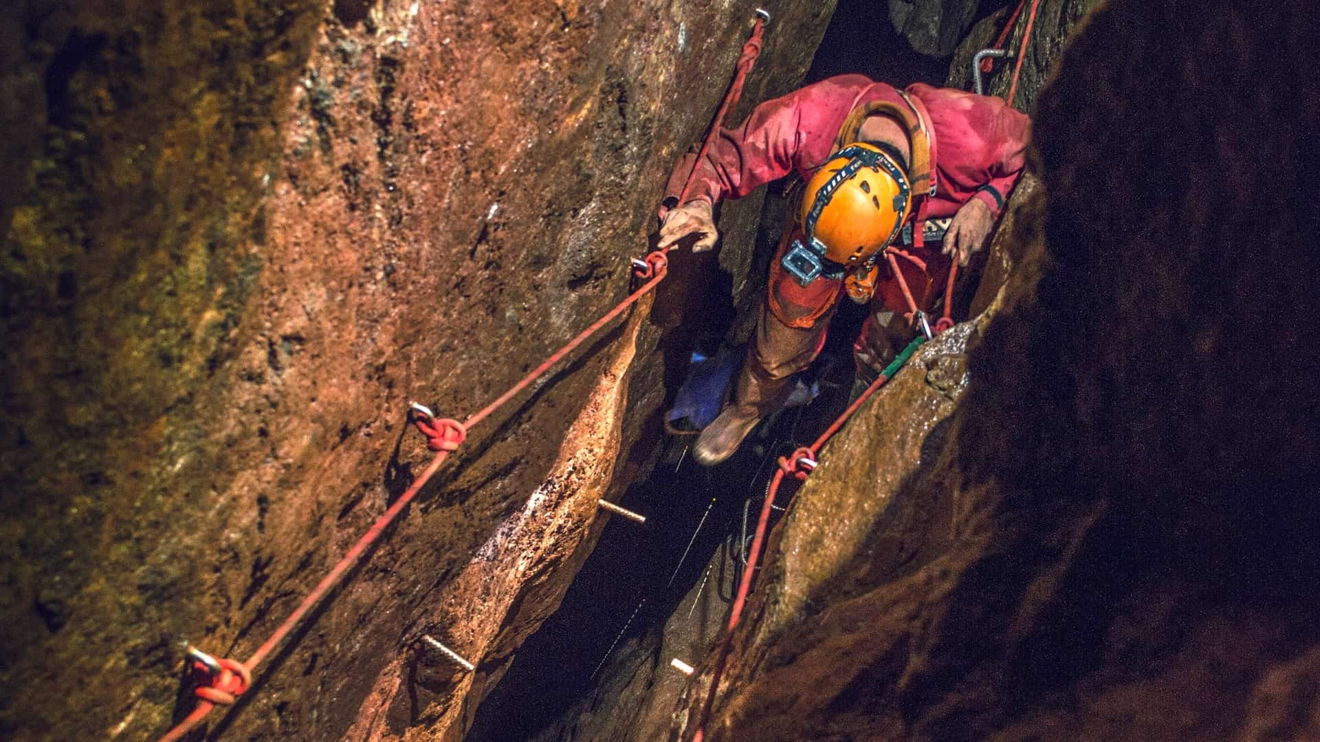 Traversing stoping in a Cornish tin mine near St. Just on an underground Adventure