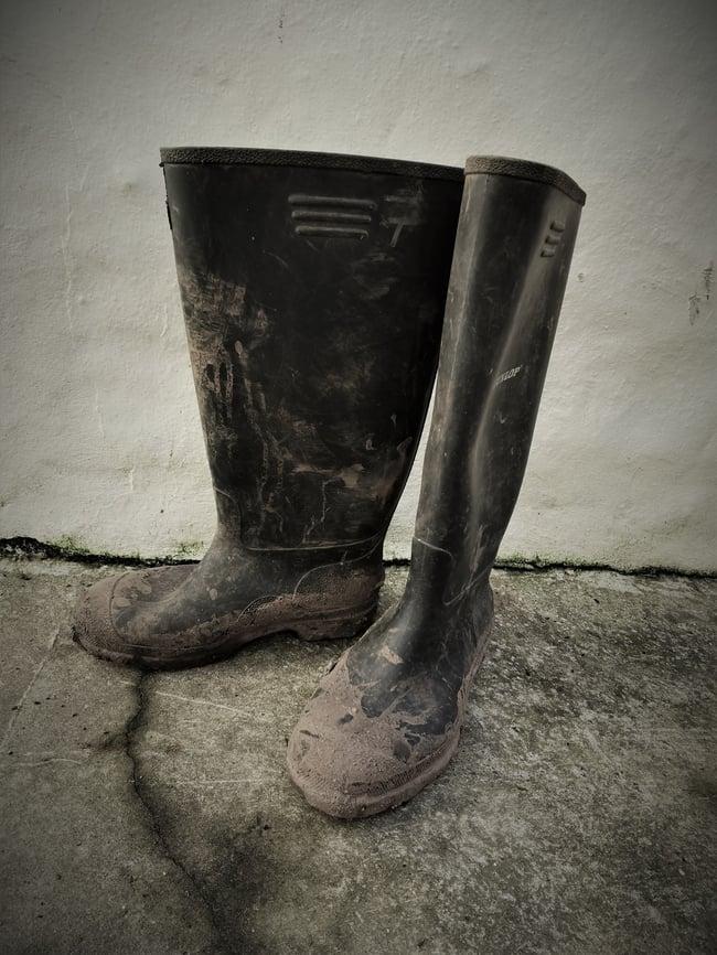 Wellington boots ready for a trip into a Cornish tin mine