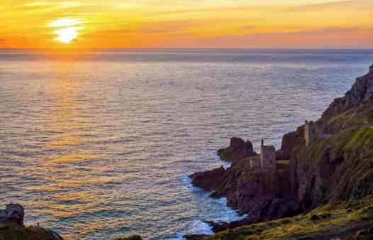 Sunset at Botallacks Crowns Mine aka the Crown Mines. Once the centre of Cornwall's tin industry.