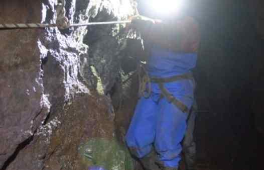 Exploring the dark underground spaces of a Cornish tine mine near St. Ives.