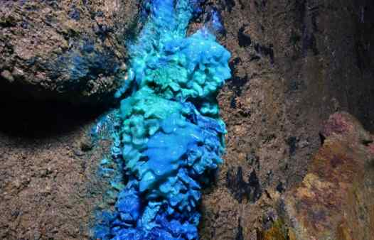 Kind of blue, copper minerals in Cornish tin and copper mines are stunning. See them on a mine tour adventure in Cornwall.