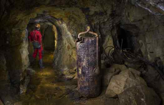 Ancient mine relics in Cornwall's underground mines. This kibble can be seen on an underground mine adventure with Cornwall Underground Adventures.