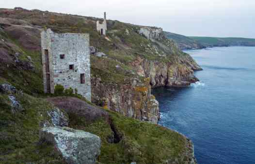 Wheal Trewavas cornish engine house. Join a guided mine history walk on the national trust southwest coast path to learn about Cornish mining history.